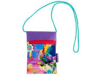 Dětská taštička na krk Trolls s provázkem peněženka na zip