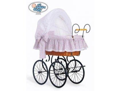 Luxusní RETRO koš na miminko MY SWEET BABY - DOMÁCÍ KOČÁREK > varianta 2100-913 (růžová louka) 2022