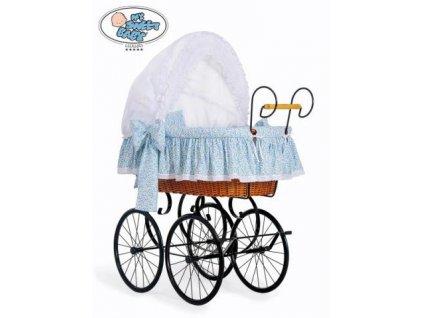 Luxusní RETRO koš na miminko MY SWEET BABY - DOMÁCÍ KOČÁREK > varianta 2100-914 (modrá louka) 2021
