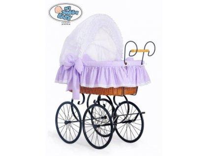Luxusní RETRO koš na miminko MY SWEET BABY - DOMÁCÍ KOČÁREK > varianta 2100-915 (tečky na fialovém) 2022