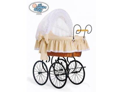 Luxusní RETRO koš na miminko MY SWEET BABY - DOMÁCÍ KOČÁREK > varianta 2100-916 (tečky na béžovém) 2021