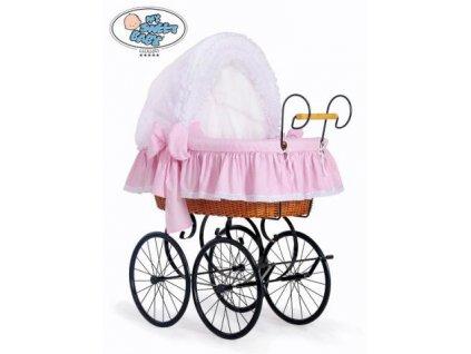 Luxusní RETRO koš na miminko MY SWEET BABY - DOMÁCÍ KOČÁREK > varianta 2100-917 (tečky na růžovém) 2019