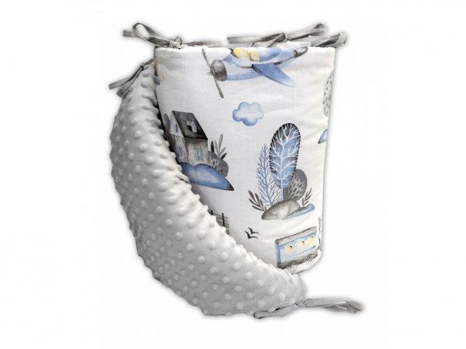 Mantinel do postýlky BABY-TEX 180cm bílá hvězda na šedém 2018