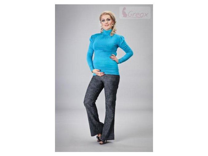 Elegantní těhotenské kalhoty JEANS - granátový melír 2018