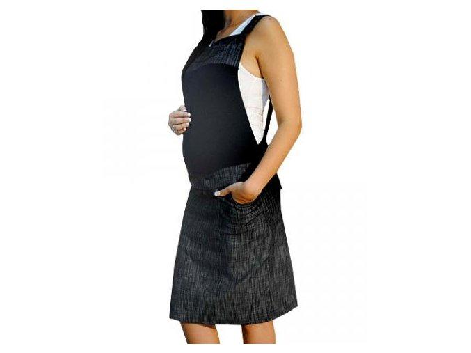 Těhotenské šaty/sukně s láclem - granátový melírek 2018
