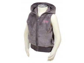 Dívčí vesta s kapucí PIDILIDI PD0961-18 hnědá 2019
