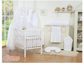 Dětská postýlka kompletní výbava SRDÍČKA nebesa bavlna > varianta bílá