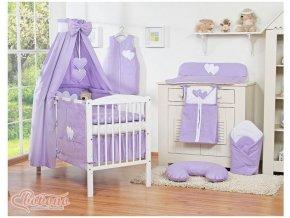 Dětská postýlka kompletní výbava SRDÍČKA nebesa bavlna > varianta fialová