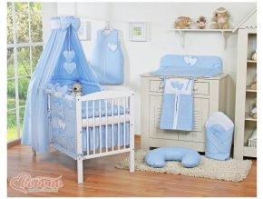 Dětská postýlka kompletní výbava SRDÍČKA nebesa bavlna > varianta modrá
