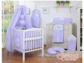 Dětská postýlka kompletní výbava SRDÍČKA nebesa bavlna > varianta tečky na fialovém