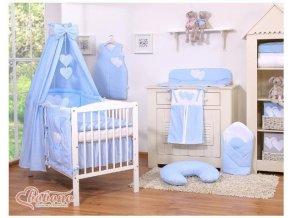 Dětská postýlka kompletní výbava SRDÍČKA nebesa bavlna > varianta tečky na modrém
