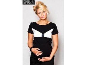 Těhotenské triko/halenka LOLA - černá/bílá