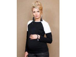 Těhotenské triko/halenka Viva - černá/bílá