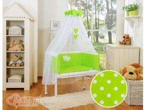 Dětská postýlka MINI FABIO s kompletní výbavou SRDÍČKA > varianta puntíky na zeleném