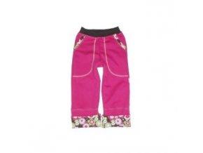 Dětské rostoucí kalhoty FLOWERS CHOCO cyklam vel.122 Farmers