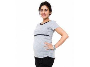 Těhotenské a kojící triko Aldona - světle šedá 41307803