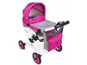 Kočárek pro panenku Mína 08 šedá-růžový puntík