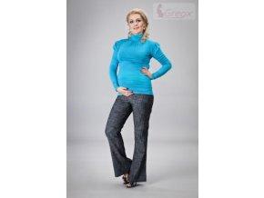 Elegantní těhotenské kalhoty JEANS - granátový melír 2019