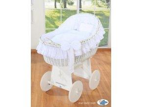 Proutěný koš na miminko bílý MY SWEET BABY kolekce Carina > varianta bílá