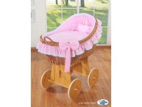 Proutěný koš na miminko MY SWEET BABY kolekce CARINA > varianta růžová
