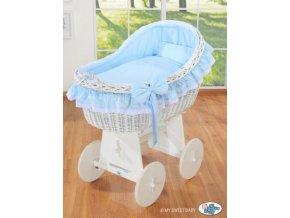 Proutěný koš na miminko bílý MY SWEET BABY kolekce Carina > varianta modrá