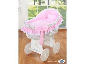 Proutěný koš na miminko bílý MY SWEET BABY kolekce Carina > varianta růžová