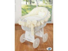 Proutěný koš na miminko bílý MY SWEET BABY kolekce Carina > varianta krémová