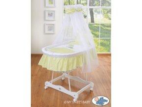 Bílý proutěný koš na miminko MY SWEET BABY s nebesy - OSLÍK LUKY > varianta 79690e-816