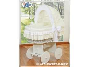 Proutěný koš BÍLÝ na miminko My Sweet Baby - DOMÁCÍ LUXUSNÍ KOČÁREK > varianta 78962-135