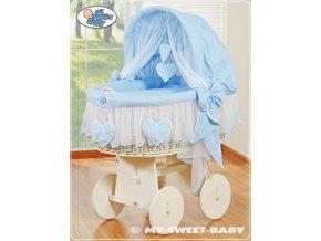 Proutěný koš BÍLÝ na miminko My Sweet Baby SRDÍČKA - DOMÁCÍ LUXUSNÍ KOČÁREK > varianta 78962-134