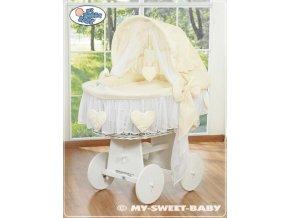 Proutěný koš BÍLÝ na miminko My Sweet Baby SRDÍČKA - DOMÁCÍ LUXUSNÍ KOČÁREK > varianta 78962-142