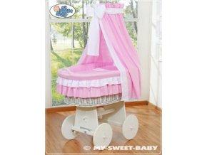 Proutěný koš BÍLY na miminko My Sweet Baby - DOMÁCÍ LUXUSNÍ KOČÁREK > varianta 79582-119