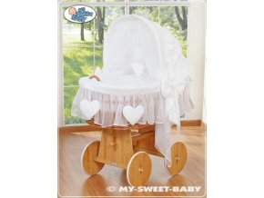 Proutěný maxi koš pro miminko My Sweet Baby SRDÍČKA > varianta 58962-123