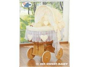 Proutěný maxi koš pro miminko My Sweet Baby SRDÍČKA > varianta 58962-142