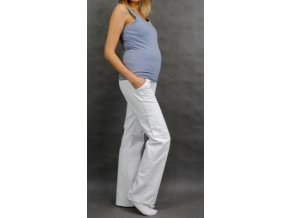Těhotenské kalhoty s boční kapsou - bílá 2019