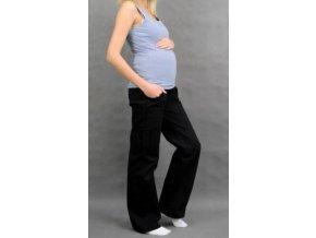 Těhotenské kalhoty s boční kapsou - černá 2019