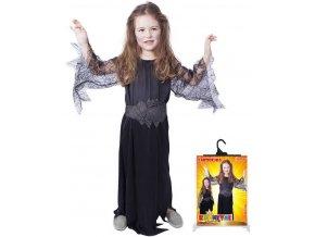 KARNEVAL Šaty čarodějnice černá pavučina vel.S (110-116 cm) 4-6 let KOSTÝM