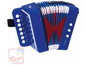 BINO Harmonika dětská modrá tahací akordeon *HUDEBNÍ NÁSTROJE*