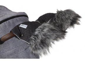 Rukavice na kočár DeLuxe černá/stříbrný prošev/šedá 2019