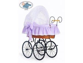Luxusní RETRO koš na miminko MY SWEET BABY - DOMÁCÍ KOČÁREK > varianta 2100-915 (tečky na fialovém)