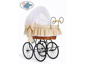 Luxusní RETRO koš na miminko MY SWEET BABY - DOMÁCÍ KOČÁREK > varianta 2100-916 (tečky na béžovém)