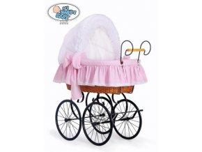 Luxusní RETRO koš na miminko MY SWEET BABY - DOMÁCÍ KOČÁREK > varianta 2100-917 (tečky na růžovém)