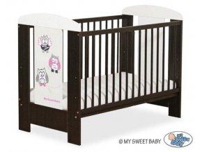 Dětská postýlka My Sweet Baby - SOVY ořech + bílá > varianta 429 šedá + růžová