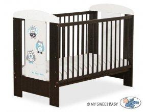 Dětská postýlka My Sweet Baby - SOVY ořech + bílá > varianta 431 šedá + tyrkys