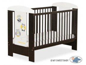 Dětská postýlka My Sweet Baby - SOVY ořech + bílá > varianta 432 šedá + žlutá