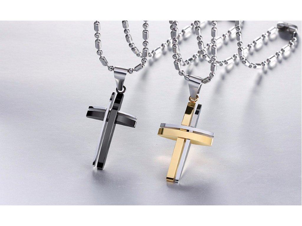 Řetízek s přívěskem kříže z chirurgické oceli PN000106 (Barva Zlatá)
