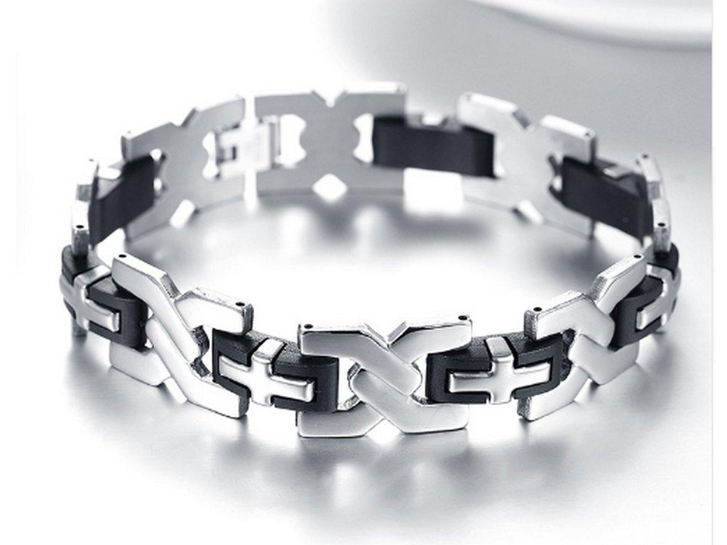 Pánský náramek xXx ve stříbrno černém provedení z chirurgické oceli ... 9bda2bdea6c