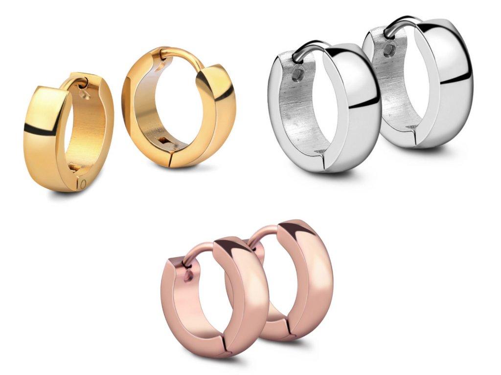 f225950da Náušnice kruhy z chirurgické oceli ve 3 barevných provedeních ...