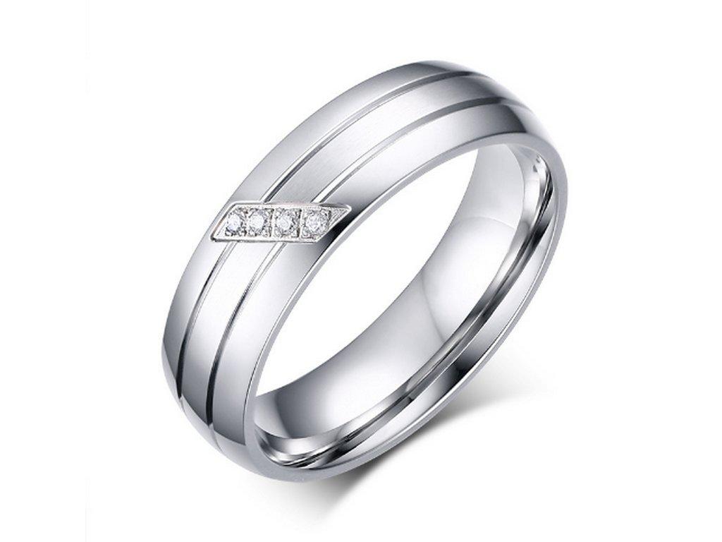 827ee8ee9 Dámský stříbrný prsten z chirurgické oceli s decentními zirkony SR000031 (Velikost  9) ...