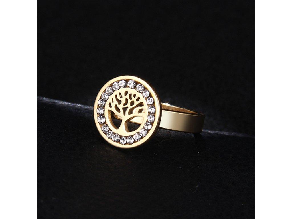 f4dcdef33 Dámský prsten z chirurgické oceli- Strom života se zirkony- zlatý SR000036 (Velikost  9 ...